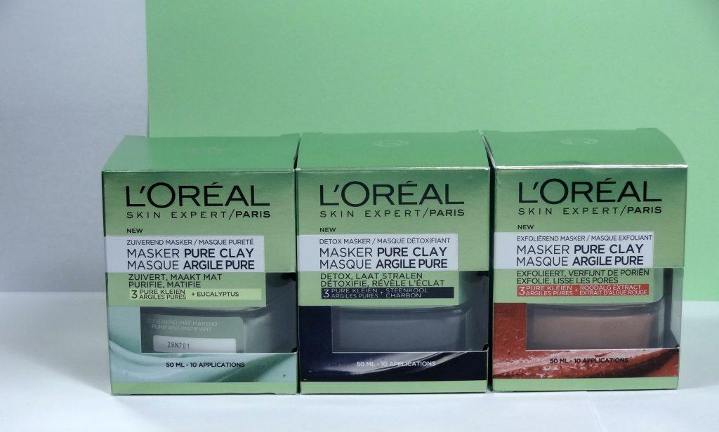 L'Oreal Pure Clay gezichtsmaskers