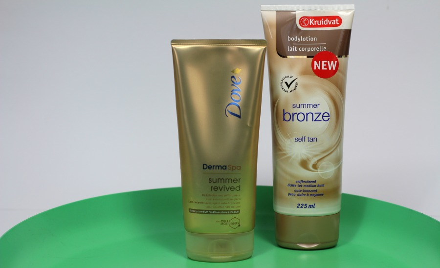 Kruidvat Summer Bronze bodylotion vs Dove Summer Revived bodylotion