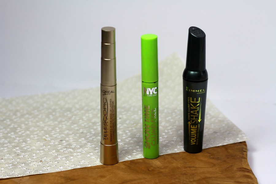 Mascara in de mix: L'Oréal Telescopic Black Blister, NYC Showtime Clump Free en Rimmel Shake 1