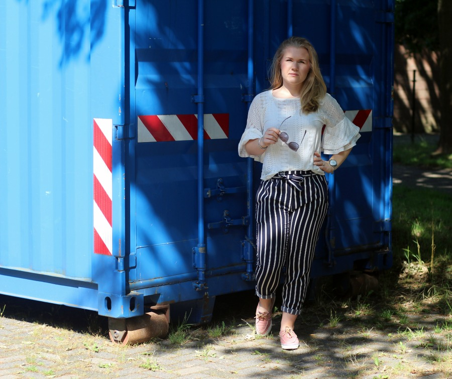 Outfit: Striped Paperbag Pants