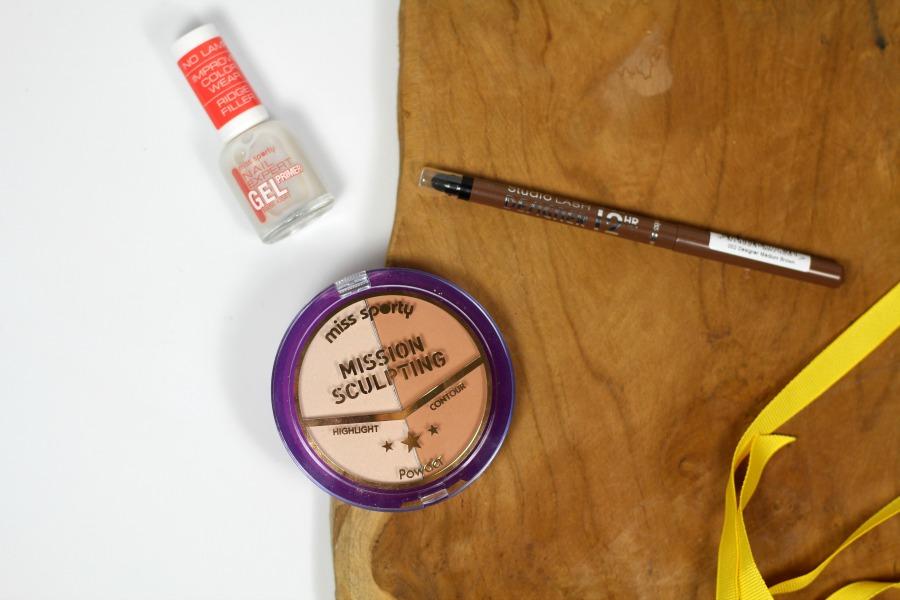 Miss Sporty Mission Sculpting Duo Powder, Nail Expert Gel Primer en Studio Lash Definer Eye Brow Pencil