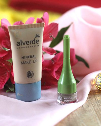 In de mix: Alverde Mineral Make-up en Alverde Augenbrauen-pomade
